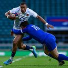 Anthony Watson of England Rugby on the break past Brice Dulin of France during the Six Nations Cham