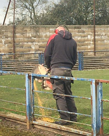 Old barriers being removed at the Everyone Active Stadium