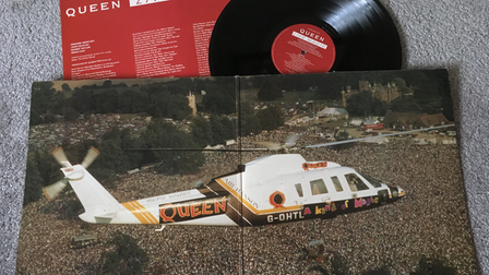 The inside sleeve of Queen album Live Magic features a picture of the band's helicopter above Knebworth Park.