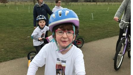 Isla Hastings, aged seven, completed the last mile of her 46-mile challenge on Saturday at Pocket Park in St Neots.