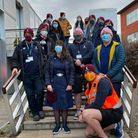 Volunteers from Welwyn Rugby Club at Roche.