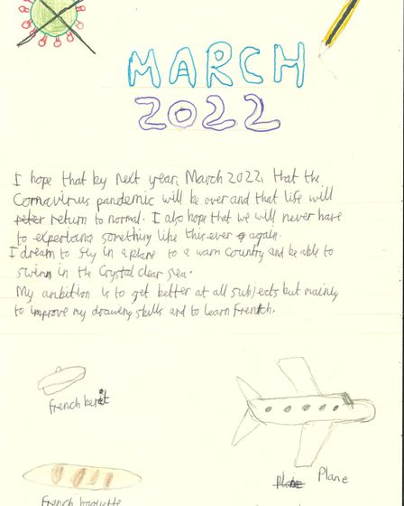 Pupils at High Beeches Primary School have been thinking about what they would like to see this time next year.