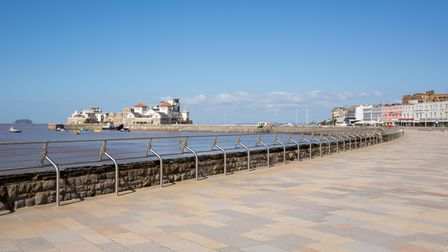 Weston-super-Mare promenade and seafront Somerset England UK with Steep Holm in the background