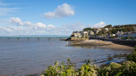 Clevedon Somerset England pier and seafront at coast town near Bristol and Weston-super-mare
