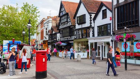 Taunton, UK - June 27, 2015: city scene with unidentified people in Taunton. Taunton is the county t