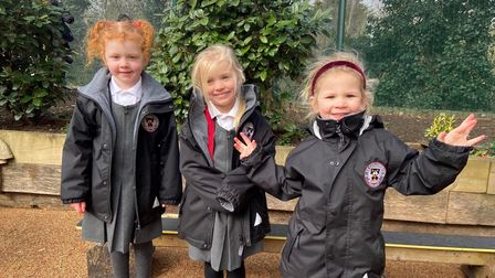 Some of the first girls to join Reception at St Columba's College in St Albans.