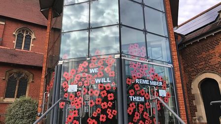 St Paul's Church put on a Remembrance Day window display.