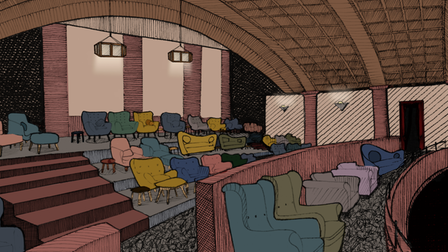An artist's impression of the proposed balcony seating area.