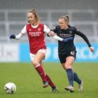 Arsenal's Lia Walti (left) and Manchester City's Georgia Stanway battle for the ball during the FA W