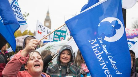 Midwives were among the thousands of health workers who took part in the first strike over pay for more than 30 years