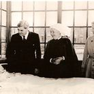 Labour health minister Nye Bevan visits 13 year old Sylvia Diggery Park Hospital Manchester July 5, 1948