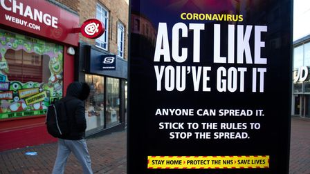File photo dated 22/01/21 of government coronavirus warning sign. January 30 2021 marks the first an