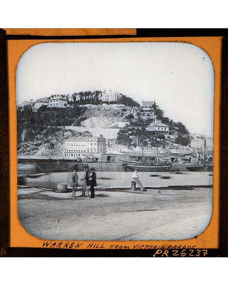 A lantern slide from the 1860s of Waldon Hill from Victoria Parade.