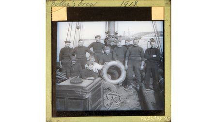 The crew of 'Collie' in 1913, the first Brixham trawler said to have had an elliptical stern