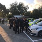 Metropolitan and Essex Police gather as they are about to set off for the night on Operation Gambler