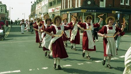 Dancers performing down Felixstowe high street in 1994 Picture: ARCHANT