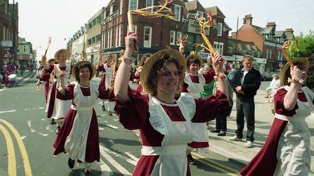 Traditional folk fancy dress at Felixstowe Folk Weekend in 1994 Picture: ARCHANT