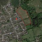 Aerial shot of land for 67 homes in Claydon