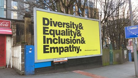 A billboard from the Black Outdoor Art project displayed in Selbourne Road, London.