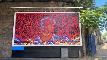 A billboard in London displays a piece of art called Grace by Kingsley Nebechi.