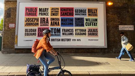 A poster made by Jahnavi Innisshighlights important names in Black British History on Clapham High Street.