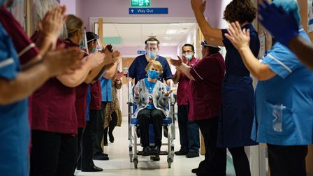 File photo dated 08/12/20 of Margaret Keenan, 90, being applauded by staff as she returns to her war