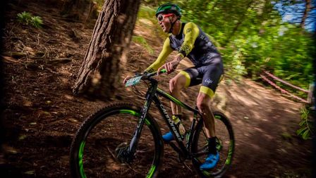 Richard Gorst taking part in a mountain bike race in the New Forest in 2020 where he gained 4th place