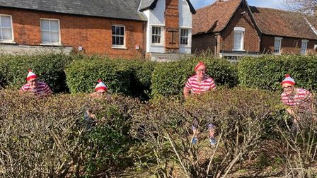 Fairlands Valley Spartans runners in Where's Wally fancy dress