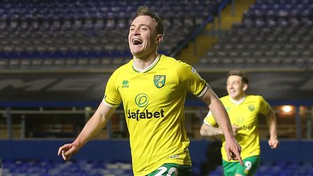Oliver Skipp of Norwich celebrates scoring his sides 3rd goal during the Sky Bet Championship match