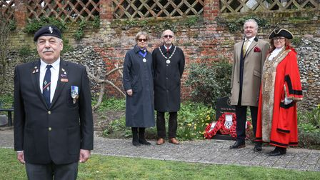 Bob Curran of the Royal British Legion led the short ceremony at the HMS Lapwing memorial, with Dep