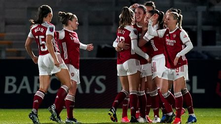 Arsenal's Lotte Wubben-Moy (third right) celebrates scoring their side's second goal of the game dur