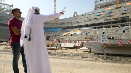 Construction of the Lusail Iconic Stadium in Doha, a venue for the FIFA World Cup 2022, on December 21, 2019