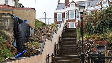 White Lion steps Gorleston landslide