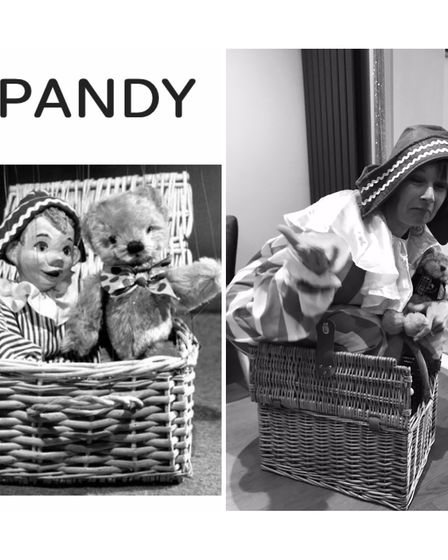 Louise dressed as Andy Pandy.
