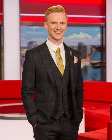 Owain in the North West Tonight studio where he has worked since 2019
