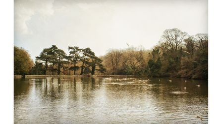 Shornden reservoir at Alexandra Park in Hastings, Sussex