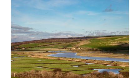 Looking down over the Cuckmere River in Sussex, on a sunny winters day