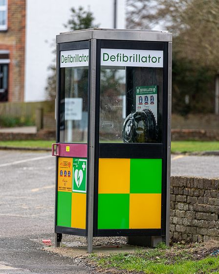 A more modern glass phone box which has been converted into a defibrillator