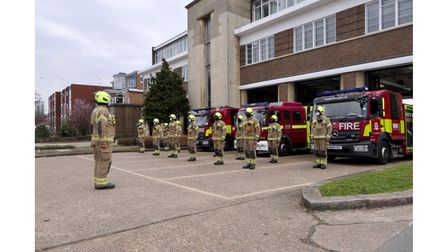 Wembley firefighter's observe a minute's silence for covid victims