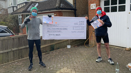 Tristram Owen and James Smith (pictured) finished their 208-mile challenge on Saturday with a marathon