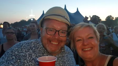 Robbie Muir with his wife Jo at a music festival.