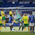 Daniel Barden of Norwich in action during the Sky Bet Championship match at the Cardiff City Stadium