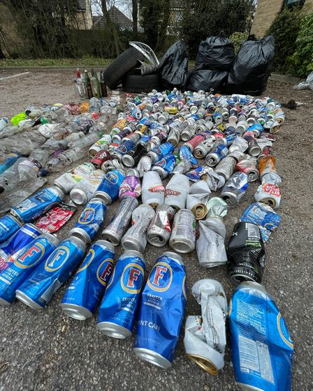 More than 300 bottles and cans were found on the Kesgrave Wombles litter pick