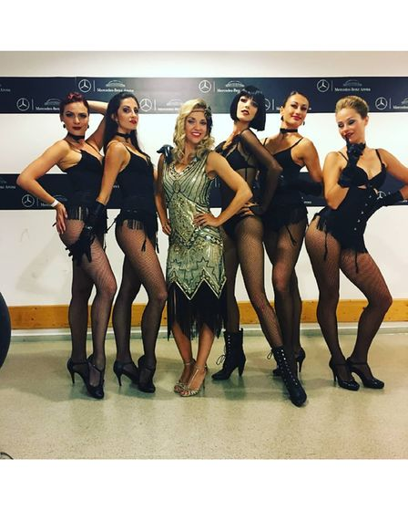 Female singer and dancers