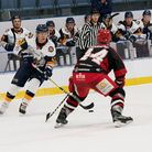 Raiders captain Aaron Connolly on the puck looking to beat Swindon Wildcats defenceman Neil Liddiard