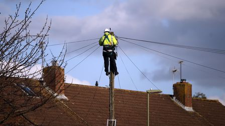 A BT Openreach engineer working on telephone lines