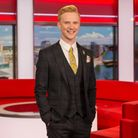 Weather presenter Owain Wyn Evans in the North West Tonight studio