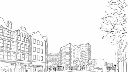 A draft sketch of how the O2 Centre development could look from Finchley Road.