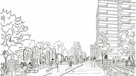 A draft sketch of how the streetscene and the public areas of the O2 Centre redevelopment could look.