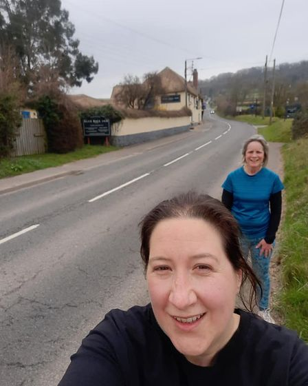 Beccy Johnson and Tracy Scannell on the pub run